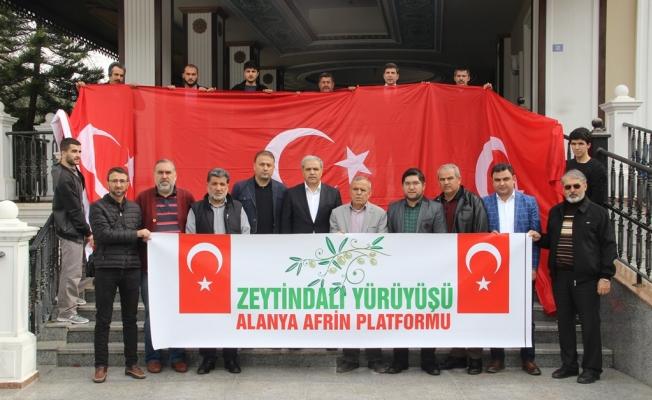 Alanya Afrin'e  destek için yürüyecek