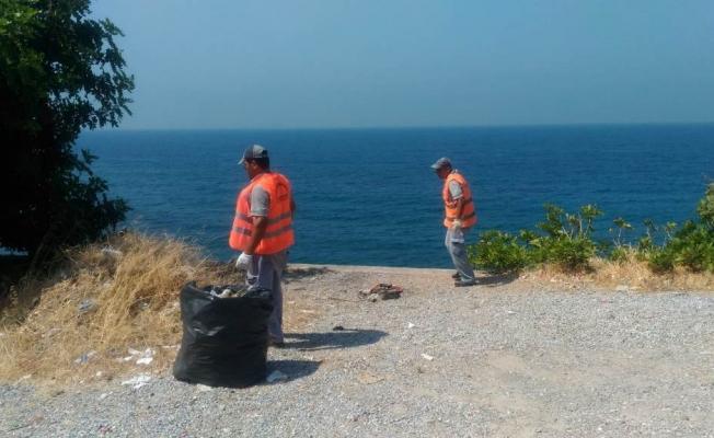 Yeşilöz-Aydap arasındaki sahil yolu temizlendi