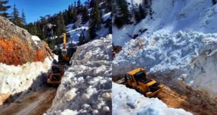 Alanya Belediyesi kardan kapanan o yolu açtı