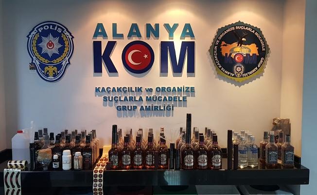 Alanya'da içki imalathanesi gibi eve polis baskını!