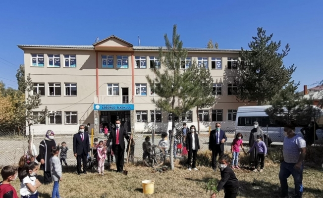 Köy okullarına 300 adet meşe palamudu ile 50 adet ceviz fidanı dikildi
