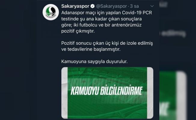Sakaryaspor'da iki futbolcu ve bir antrenörün test sonucu pozitif çıktı