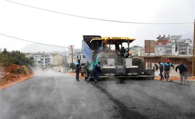 Alanya Belediyesi asfalt çalışmalarına devam ediyor