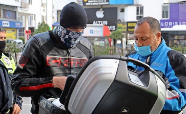 Sivil trafik polisinin durdurduğu motosikletli alkollü çıktı