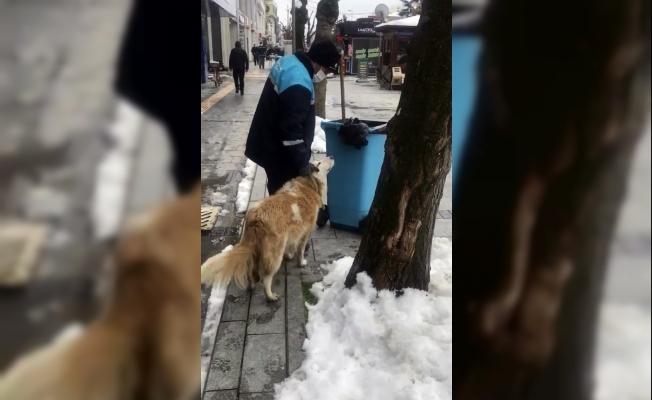Sokakları temizlerken köpek sevgisiyle yürekleri ısıttı
