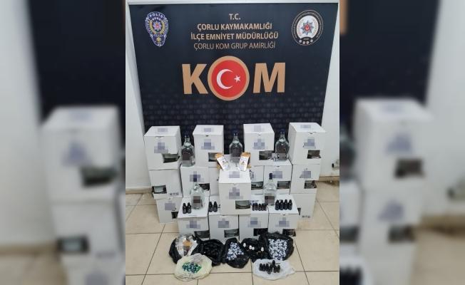 Tekirdağ'da market operasyonunda 172 litre kaçak içki bulundu