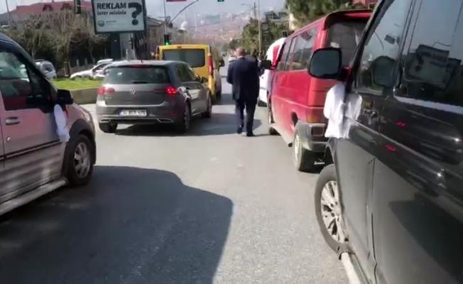 (Özel) Büyükçekmece'de polisi alarma geçiren düğün konvoyu