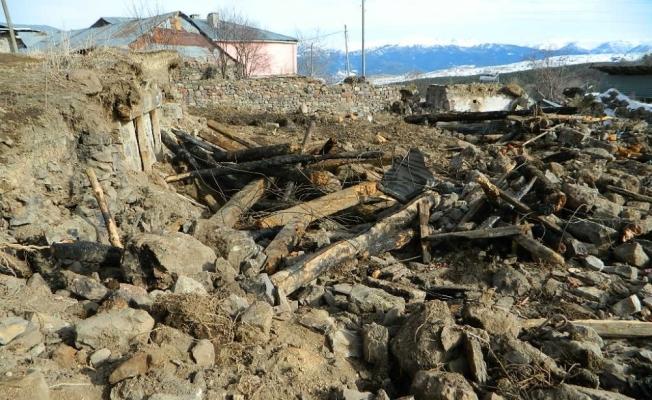 Posof'ta çıkan yangında evleri tamamen yandı