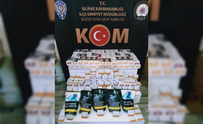 Silifke'de 45 bin kaçak makaron ile bin 440 dolu makaron ele geçirildi