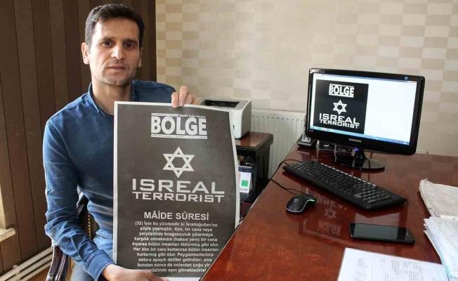 Van'daki yerel gazeteden İsrail'e 'terörist' göndermesi