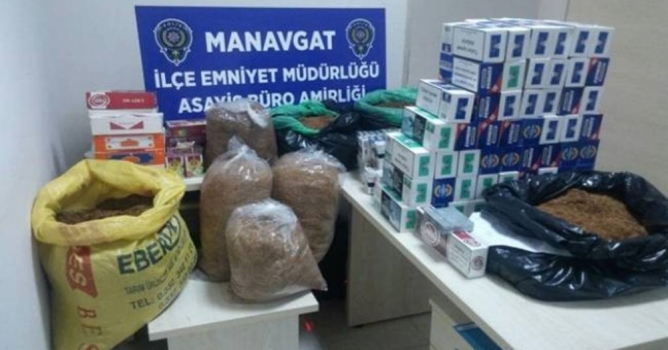 Manavgat'ta kaçak  sigara ele geçirildi