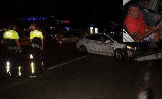 Alanya'da alkollü sürücü sert kayaya çarptı