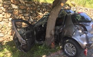 Alanya'da otomobil ağaca ve duvara çarptı: 1'i ağır 2 yaralı