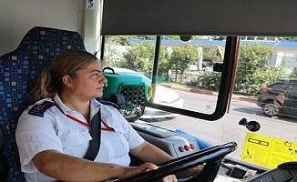 Evde bırakamadığı engelli kedisiyle halk otobüsü şoförlüğü yapıyor