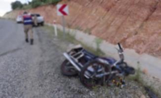 Alanya'da motosiklet sürücüsü şarampole yuvarlandı