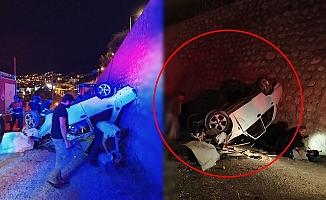 Otomobil duvardan uçtu: 4 yaralı