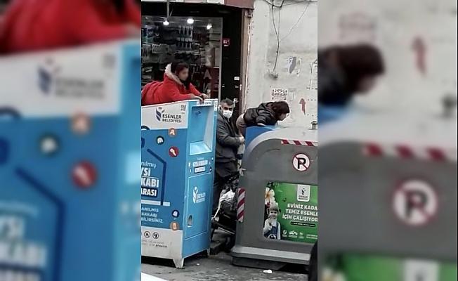(Özel) Yasağa uymayan çocuklar, çöp konteynerine girerek giysi topladı