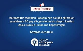 Tüm Antalya'da 20 yaş altının otobüs kartları iptal edildi