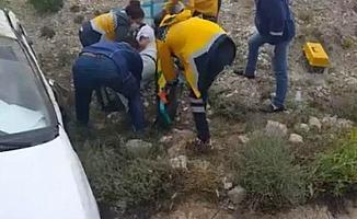 Beypazarı'nda bir araç şarampole yuvarlandı: 1 yaralı