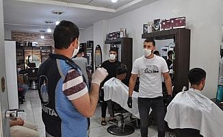 Cizre'de maske ve sosyal mesafe denetimi