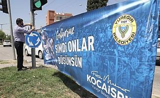 Yüreğir, Demirspor pankartları ile donatıldı