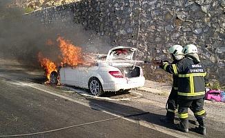 Lüks otomobil cayır cayır yandı