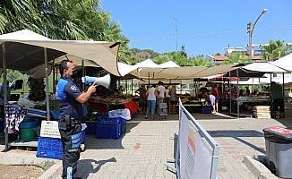 Marmaris Zabıtası'ndan megafonla korona virüs uyarısı