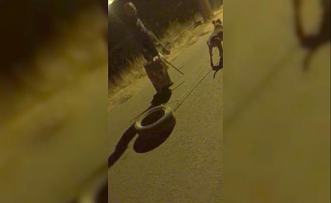 Köpeğe araç lastiği bağlatıp işkence yaptı, savunmasıyla pes dedirtti