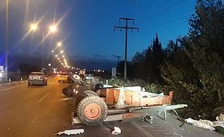 Burhaniye'de kamyon ve traktör çarpıştı: 1 yaralı