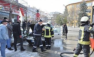 Karaman'da araç yangını