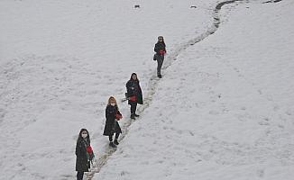Karlı tepeleri aşarak kadınlara karanfil dağıttılar