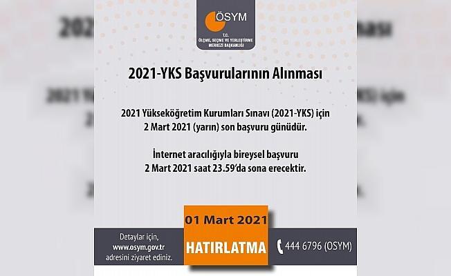 """ÖSYM: """"2021 Yükseköğretim Kurumları Sınavı (2021-YKS) için 2 Mart 2021 (Yarın) son başvuru günü. İnternet aracılığıyla bireysel başvuru 2 Mart 2021 saat 23.59'da sona erecek."""""""