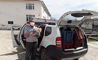 Karantinadaki Karabey köyüne ekmek yardımı