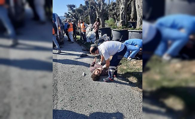 Minibüs, motosikletle çarpıştı: 2 yaralı