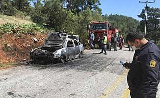 Ormanlık alanda araç yangını