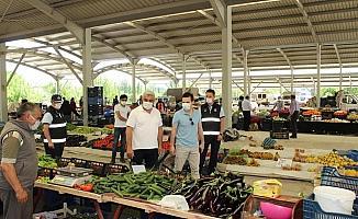 Hisarcık pazarında koronavirüs denetimi