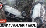 Otomobil uçuruma yuvarlandı : 4 yaralı