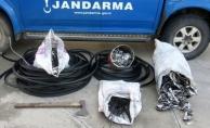 Alanya'da kablo hırsızları jandarmadan kaçamadı!