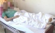 Alanya'da düşen taş talihsiz adamın ayağını kırdı