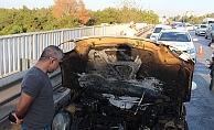 Servisten çıkan otomobil 5 kilometre sonra cayır cayır yandı
