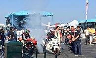 Türkiye Motodrag Şampiyonası'nda lastikler yandı