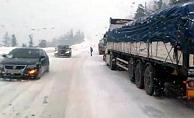 Alanya- Konya yolu beyaza büründü!