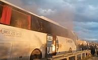 Alanya'da yolcuların bulunduğu otobüs cayır cayır yandı!