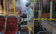 Alanya'da toplu taşımaya korona dezenfektesi
