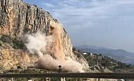 Alanya- Anamur yolunda kontrollü patlama yapıldı