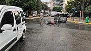 Kontrolden çıkan motosiklet sürücüsü kaza yaptı