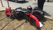 Ehliyetsiz motosiklet sürücüsü kazada yaralandı!