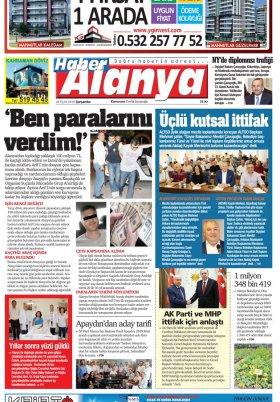 Haber Alanya - 26.09.2018 Manşeti
